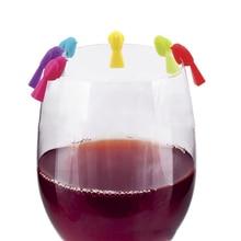 6 шт. силиконовые птичьи титьки бокал для вина, распознающее стекло, чашка с отличием(смешанный цвет