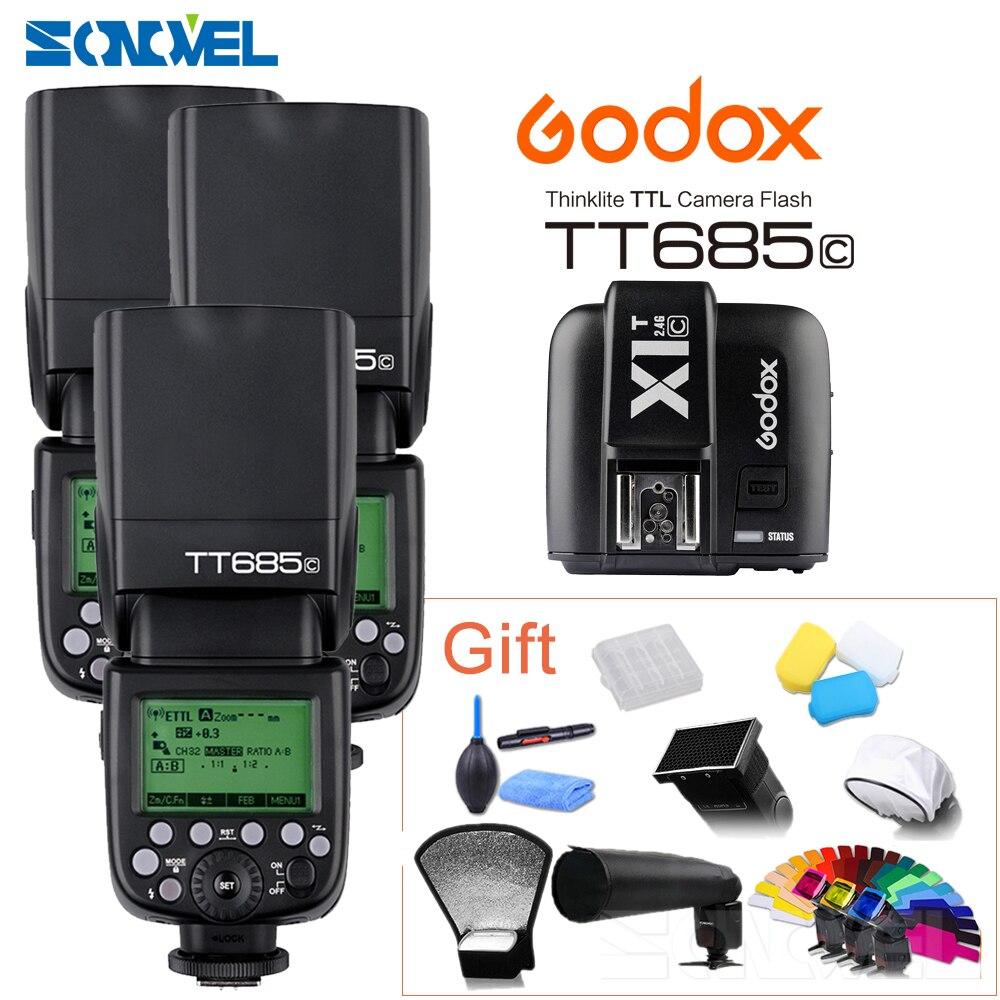 DHL libero!! 3X Godox TT685C 2.4G HSS GN60 E-TTL Flash Wireless + X1 TTL Trigger per Canon 1100D 1000D 7D 6D 60D 50D 600D 500DDHL libero!! 3X Godox TT685C 2.4G HSS GN60 E-TTL Flash Wireless + X1 TTL Trigger per Canon 1100D 1000D 7D 6D 60D 50D 600D 500D