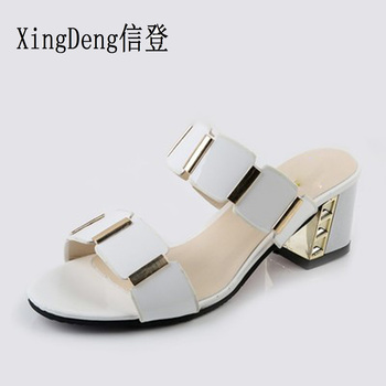 XingDeng Girl Summer Round Toe Sandals Women Gladiator Square Heel Slipper 35-43 Lady Fashion Elegant Opened