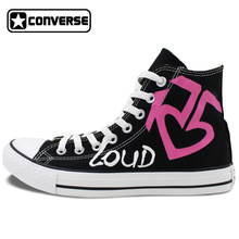 Pink R5 Loud Design Converse All Star Women Men Shoes High Top Hand Painted Unique Canvas Sneakers Skateboarding Shoes