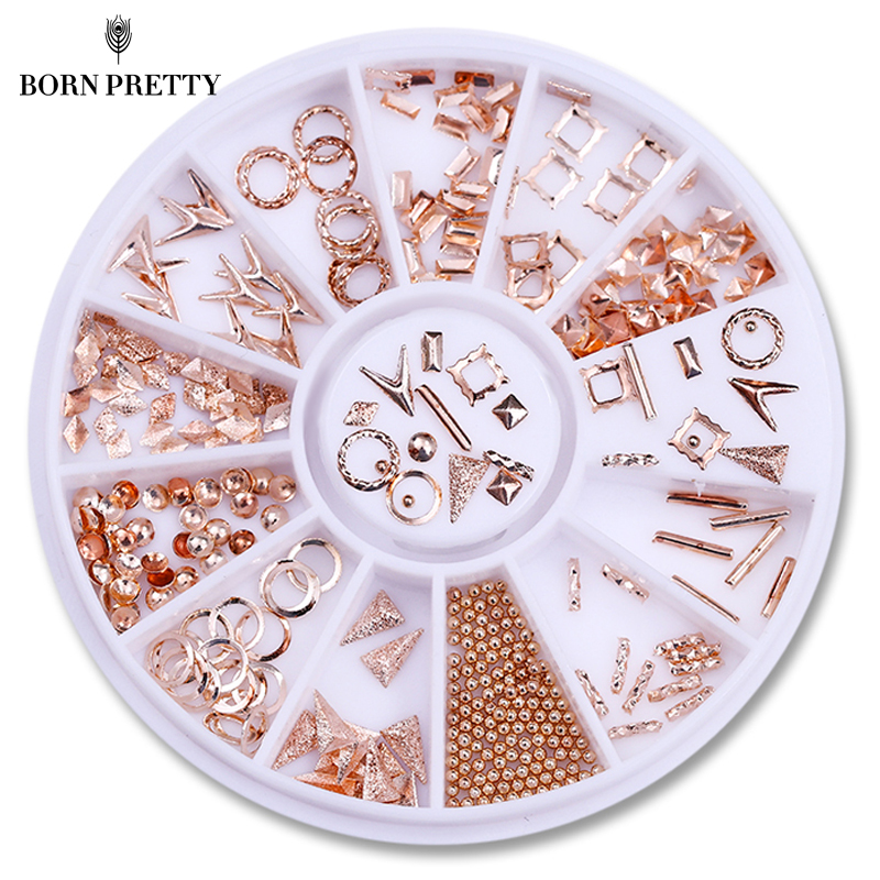 Rose Gold Rivet Studs 3D Nail Decoration Triangle Circle Round Square Beads Manicure Nail Art Decorations in Wheel rose gold silver black nail beads caviar studs multi size diy 3d nail art uv gel lacquer decoration in wheel manicure accessorie