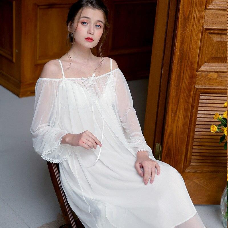 2 Two Piece Robe Gown Set White Mesh Cotton Strap Ruffle Slip Dress Long Sleeve Lace Kimono Sleepwear Women for Wedding 2019