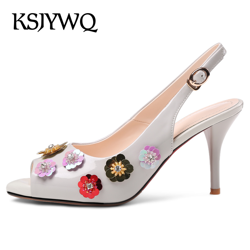 KSJYWQ Sexy Peep-toe Women Slingbacks 8 CM High Heels Leather Buckle Pumps Summer Dress Shoes Woman Sandals Box Packing hyt66212 spring summer new fashion sexy women pumps peep toe wedges platforms high heels sandals shoes woman buckle 35 42 loslandifen