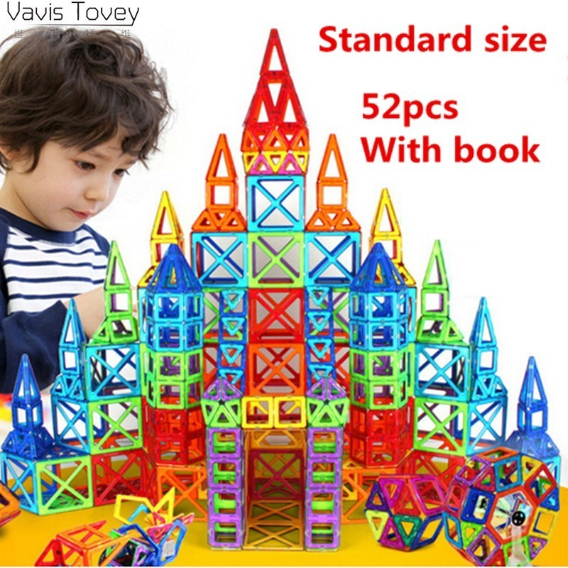 Vavis Tovey 52pcs/set Standard Construction Building Blocks Toys DIY 3D Magnetic Designer Educational Bricks Gift Kid