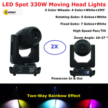 Free Shipping LED 330W Spot Moving Head Lights 10-27 Deggre Zoom Feature DMX 18/21 Channels Dj Stage Disco Par Party