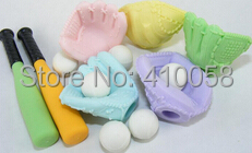 World Cup Baseball  Eraser Set Soft Ball Eraser  Promotion School Children Eraser Set  MOQ 30 Pieces