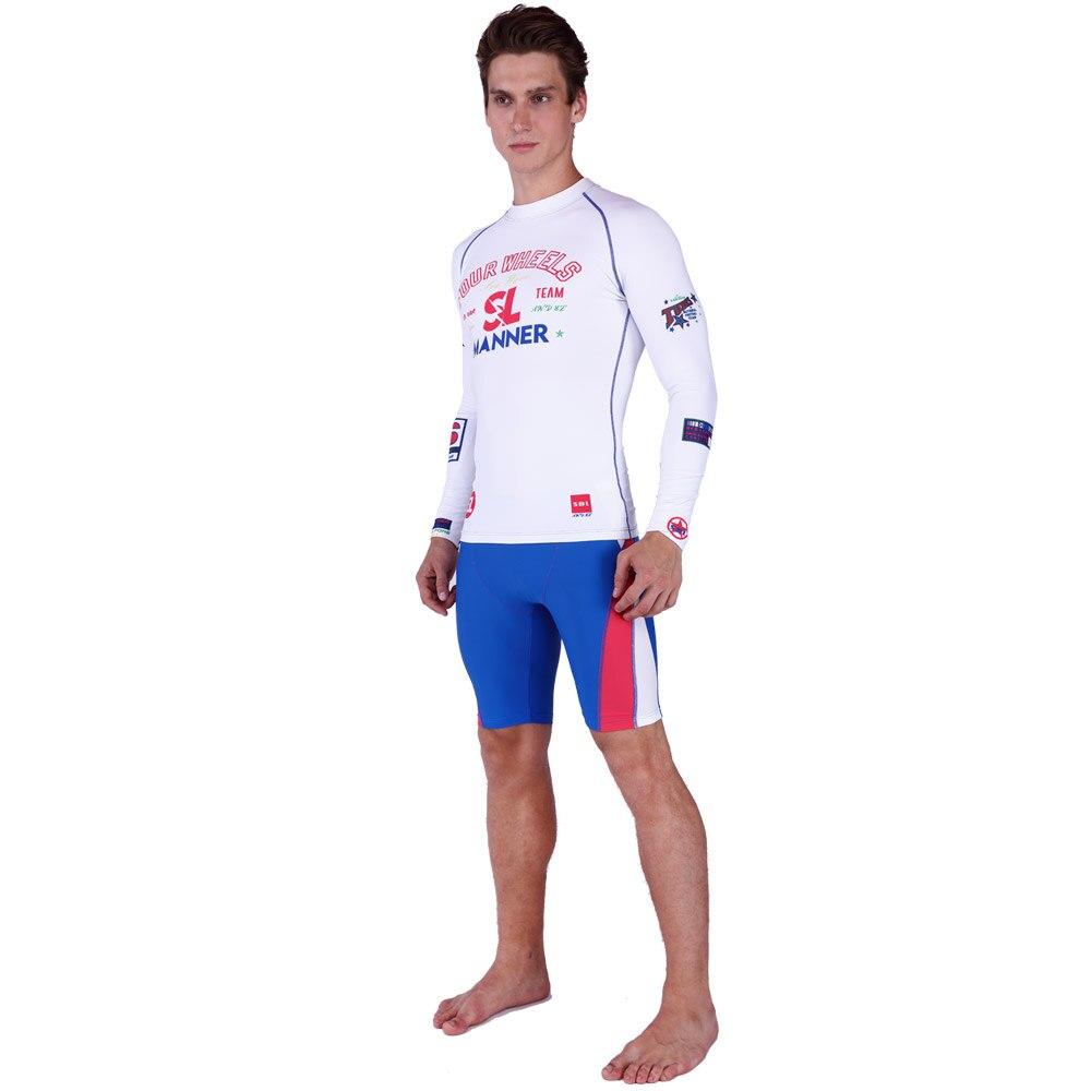 SABOLAY Homens Apertado camisa De Lycra de Surf Swimsuit Rash Guard  Rashguard Manga Longa Protetor Solar Camisa Mens Short terno de Natação  Calças de ... 9e1af63fedb