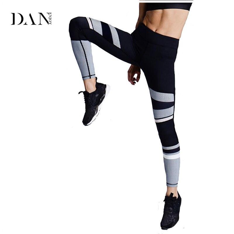 DANENJOY Leggins Sport Women Yoga Pants Printed Black White Elastic Compression Slim Leggings Sexy Running Stretch Trousers C201