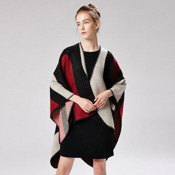 49f2e4d2e46a Новый Ретро-Платки для женщин толстый теплый шарф зима плед шарф-пончо  накидка ...