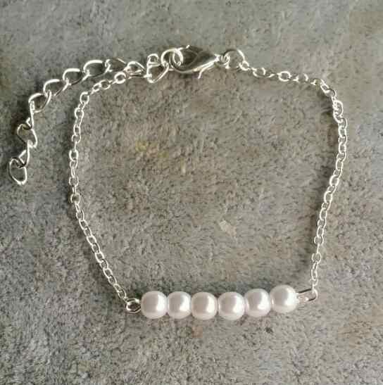 La316 2018 chica mujer estilo simple cadena de oro y plata hecho a mano con cuentas imitación perla pulsera mujer encanto joyería