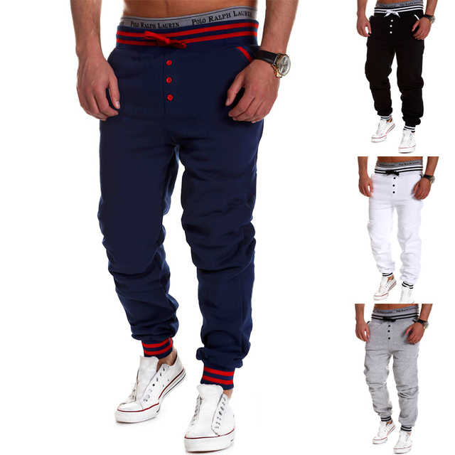 Hot selling Fashion Drawstring elastic waist single breasted solid color  pants  Sweatpants Trousers