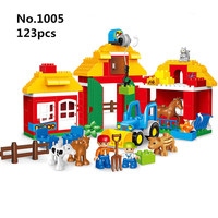 123pcs Big Size Diy Building Blocks Happy Farm Zoo Animals Hobbies Toy Compatible with Legoingly Duplo Toys for Children Gift