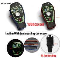 100pcs/lot Luminous leather car key cover auto key case for Mercedes benz CLS CLA GL R SLK AMG A B C S class Remote holder