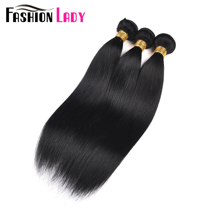 Fashion Lady Pre-Colored Indian Straight Hair Bundles 1# Jet Black Human Hair Weave 3 Bundles Human Hair Extensions Non-Remy