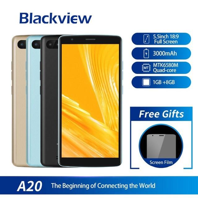Blackview A20 Smartphone 1 gb di Ram 8 gb di Rom Mtk6580m Quad Core Android Go 5.5 pollici 18:9 Dello Schermo 3g doppia Fotocamera Del Telefono MobileBlackview A20 Smartphone 1 gb di Ram 8 gb di Rom Mtk6580m Quad Core Android Go 5.5 pollici 18:9 Dello Schermo 3g doppia Fotocamera Del Telefono Mobile
