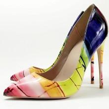 Keshangjia Vrouw Slip Op Schoenen Mode Bladeren Printing Dames Sexy Stiletto Vrouwelijke Bloemen Dunne Vrouwen Hoge Hakken Partij schoenen
