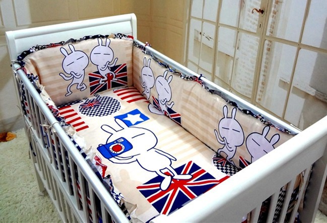ФОТО Promotion! 6PCS Baby Crib Cot Bedding Set Baby Bumper Sheet Dust Ruffle (bumpers+sheet+pillow cover)