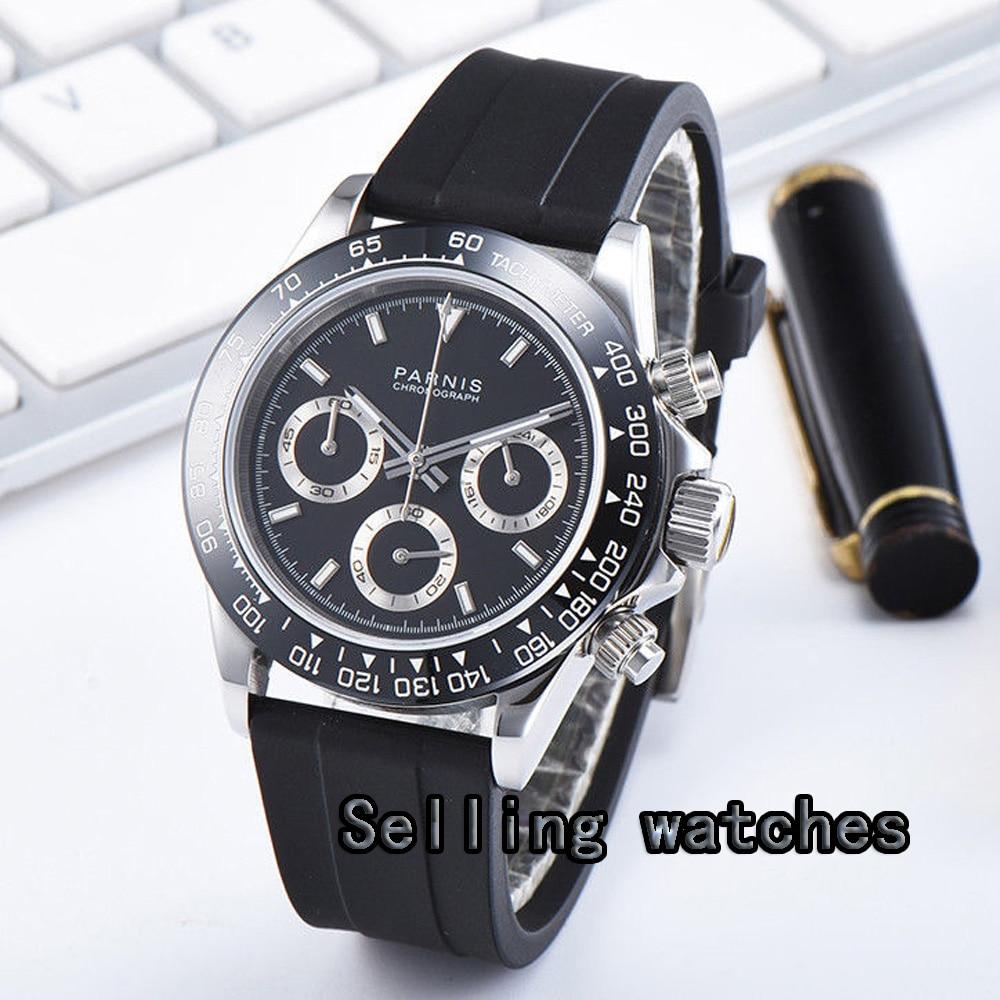 Luxury 39mm PARNIS Quartz men's watch Full Chronograph black dial luminous sapphire glass stop watch men|Quartz Watches| |  - title=