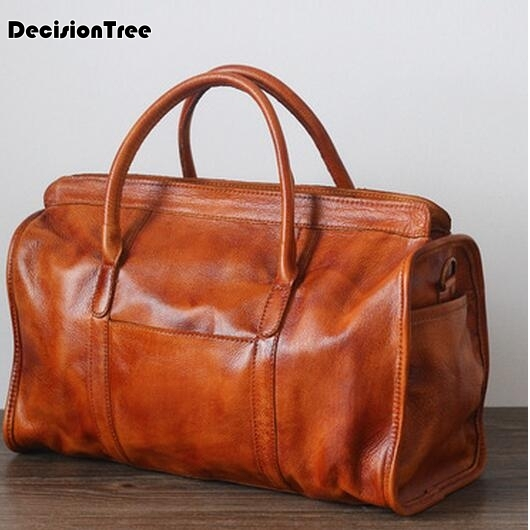 Новый бренд натуральной кожи дорожная сумка для Для женщин Портативный Винтаж уникальный сумка через плечо сумка путешествия
