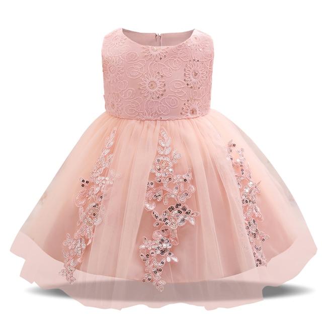 38b7b1d94370 Trendy Pink Princess Baby Girl Wedding Christening Dress First ...