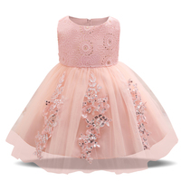 Trendy Pink Princess Baby Girl Wedding Christening Dress First Birthday Infant Party Dress For Newborn Bebes