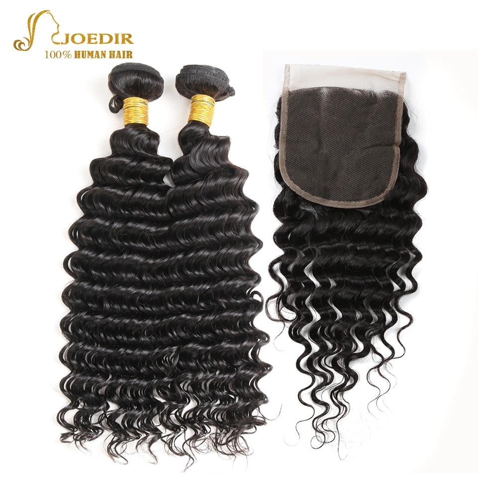 Joedir Deep Wave 2 Bundles With Closure Free Part Hair Extension Indian Deep Wave Bundles With 4 x 4 Lace Closure Human Hair
