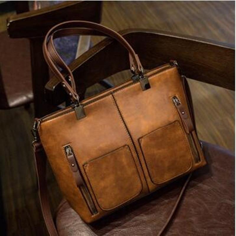 Retro de cuero de la PU de las mujeres hombro bolsa mujer Causal bolsas diaria bolso de compras de
