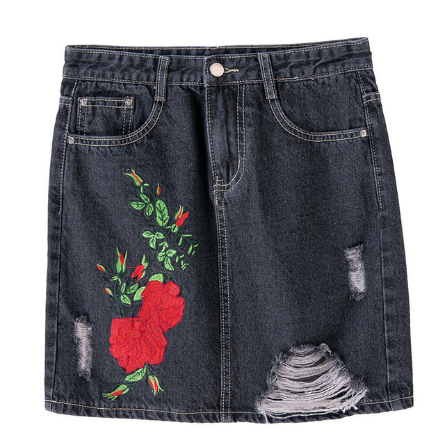 Aliexpress.com : Buy Embroidery Hole Denim Skirt Skirts Womens ...