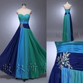In Stock Chiffon Bridesmaid Dress Prom Party Dress with Crystal Beads Lace up Back Junior Multi-color Bridesmaid Dresses
