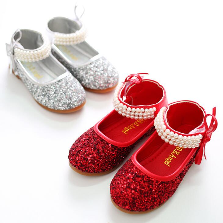 Girls Shoes 2019 New Brand Kids Pearl Princess Party Shoes Good Quality Sequins Sandals For Girl Silver Red Girl Sneaker
