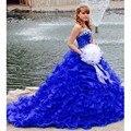 2017 Azul Royal New Ball Vestido Vestidos Quinceanera com Cristal Beading Lantejoulas Organza Doce 16 Vestidos Custome Fêz Moda
