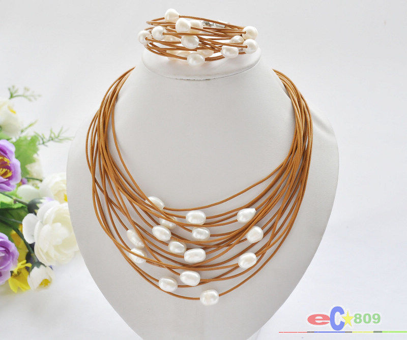 free shipping wholesale 15row 13mm white rice freshwater pearl coffee leather necklace & bracelet