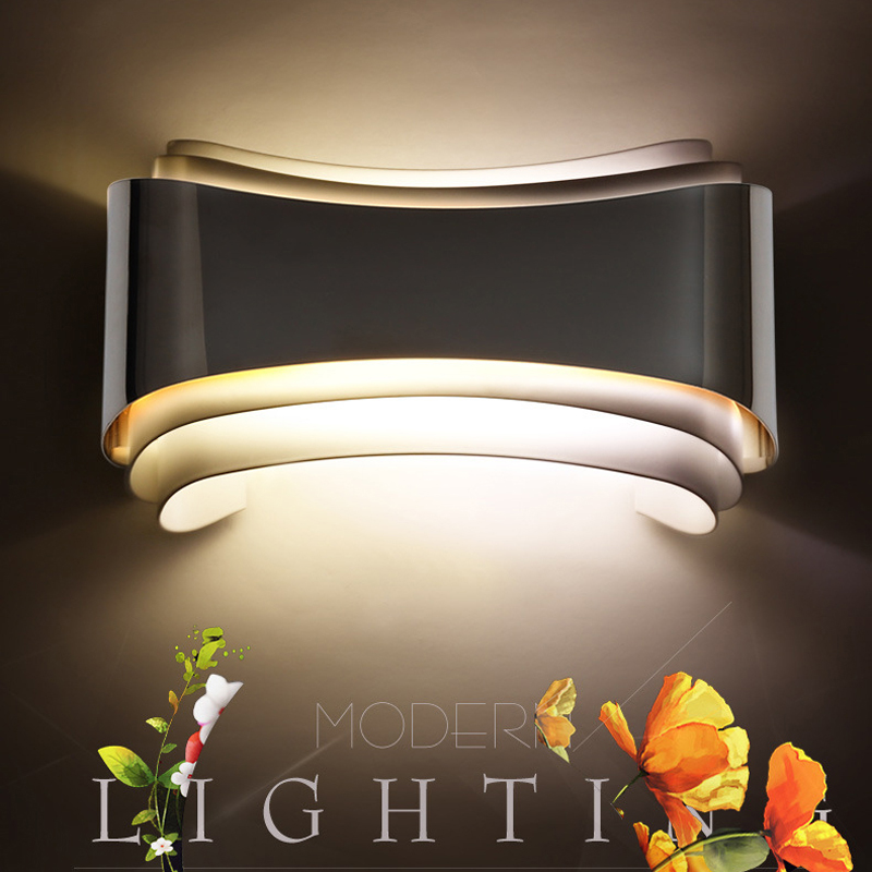 Modern creative led wall lights for bedroom study room Stainless steel Hardware 6W home decoration wall lamp free shipping shadow projection lamp creative 201 essential button type stainless steel led home furnishing decoration