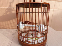 Bird cage , thruputs bamboo bird cage with cloth cover and bowl