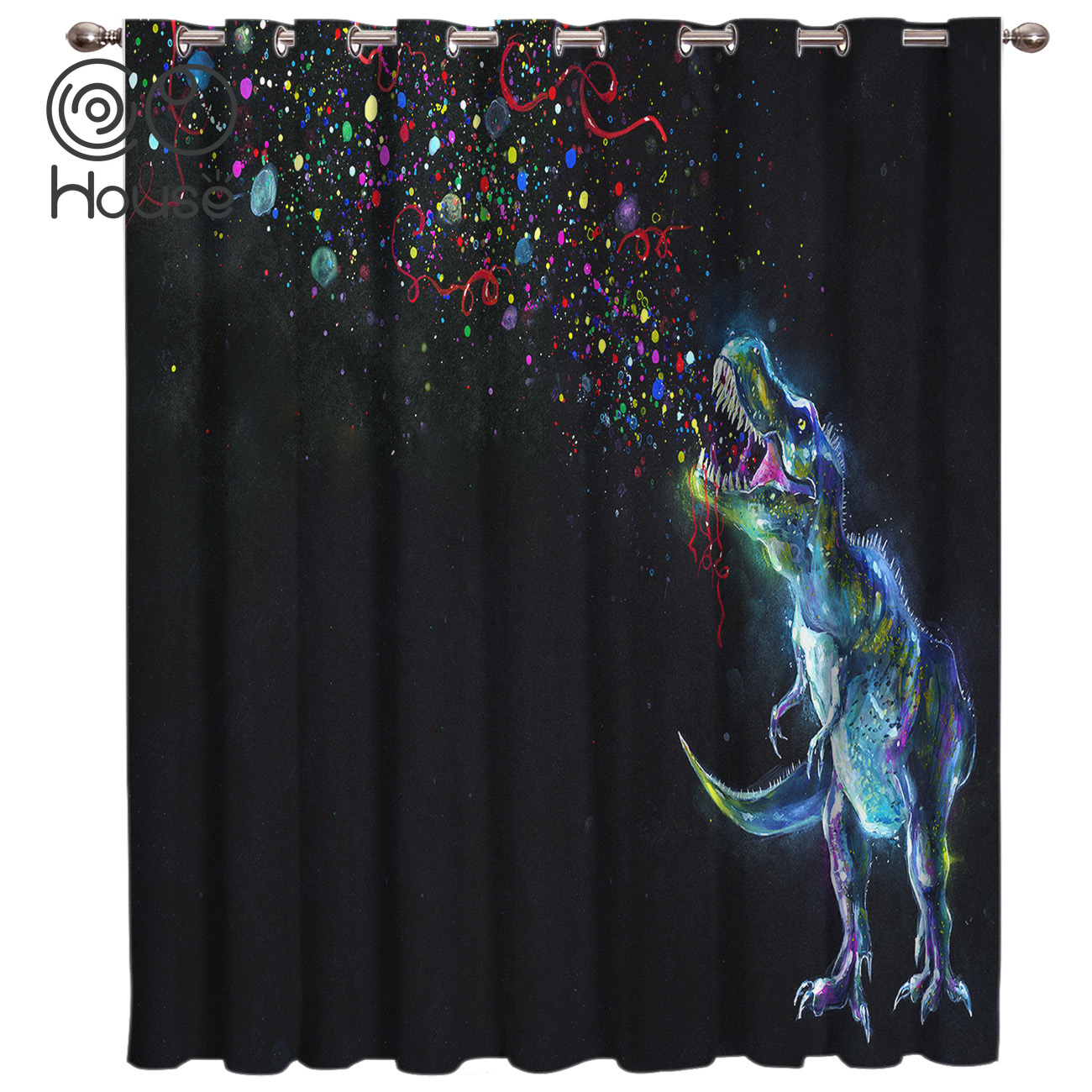 Dinosaur Curtains Blackout Bathroom Kitchen Kids Window Treatment Hardware Sets Curtain Panels With Grommets