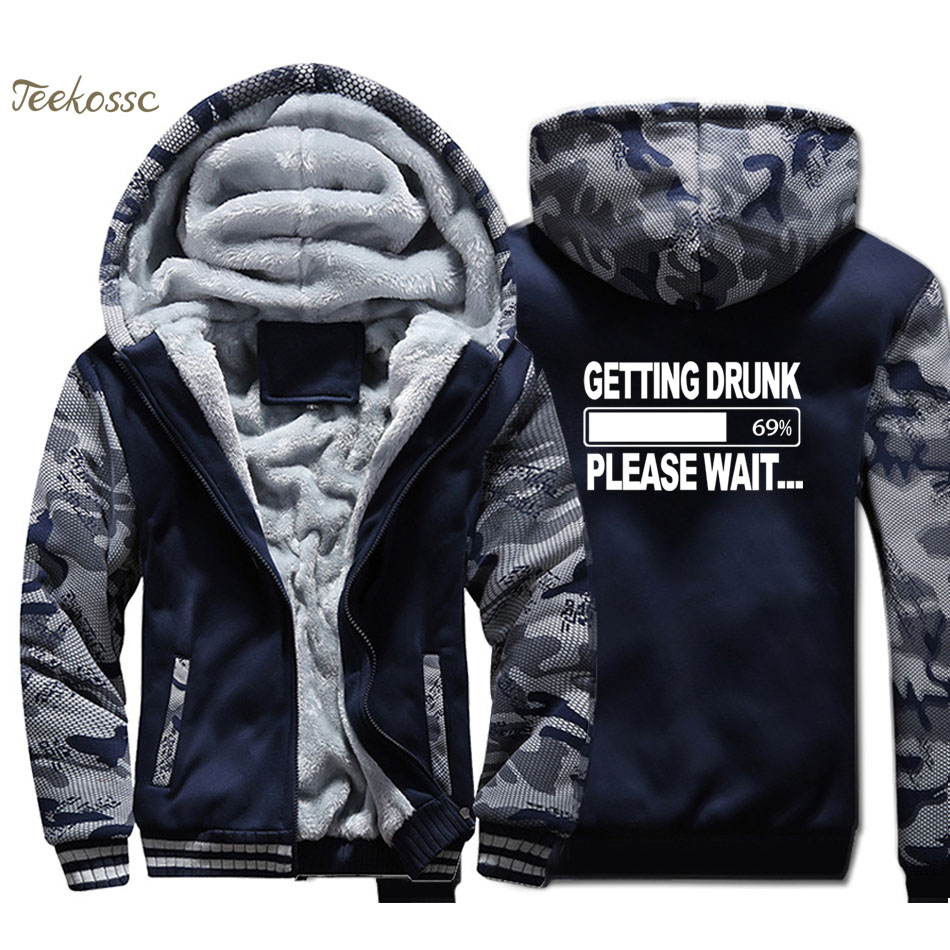 Getting Drunk-Please Wait Beer Hoodie Men Funny Print Hooded Sweatshirt Coat Winter Thick Fleece Zipper Camouflage Jacket Mens