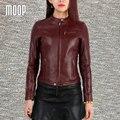 Chaquetas de cuero genuino de las mujeres 100% de piel de cordero chaqueta de la motocicleta delgada abrigos veste cuir pour femme verdadera abrigos mujer LT192