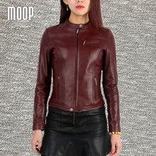 Genuine leather jackets women sheepskin lamb leather motorcycle jacket coats outwear giacca blouson moto jaqueta de couro LT192