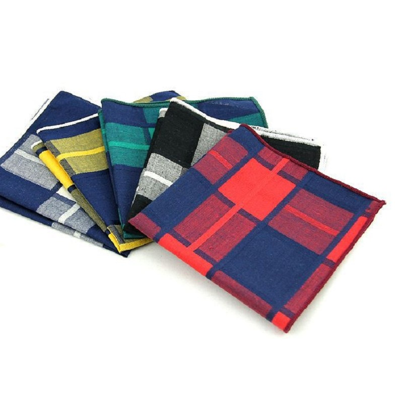 Large Handkerchief 100% Cotton Handkerchief Plaid Pocket Square Hanky Men's Pocket Towels Handmade Suit Accessory Square Towel