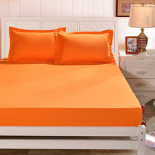 Orange Color Polyester Fitted Sheet Single Double Bed Sheets For Kids Adults 1 Piece Sheet Only, No Pillow Case XF335-5