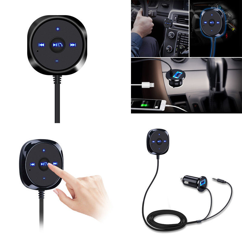 Iniciar Siri Wireless Bluetooth Car Kit Manos libres 3.5mm AUX Audio Reproductor de música Manos libres Altavoz 2.1A USB Cargador de coche rc