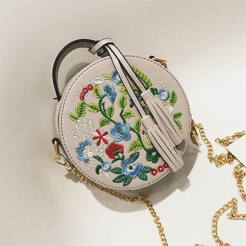 Women Embroidery Flower Round Handbag PU Leather Tassel Shoulder Bag Chain Crossbody Bag Best Sale-WTWomen Embroidery Flower Round Handbag PU Leather Tassel Shoulder Bag Chain Crossbody Bag Best Sale-WT