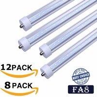 Stock In US + 8ft led tubes 45W 4800 Lumens Single Pin FA8 T8 LED Tubes LED Fluorescent Tube Lamp AC 85 265V UL FCC