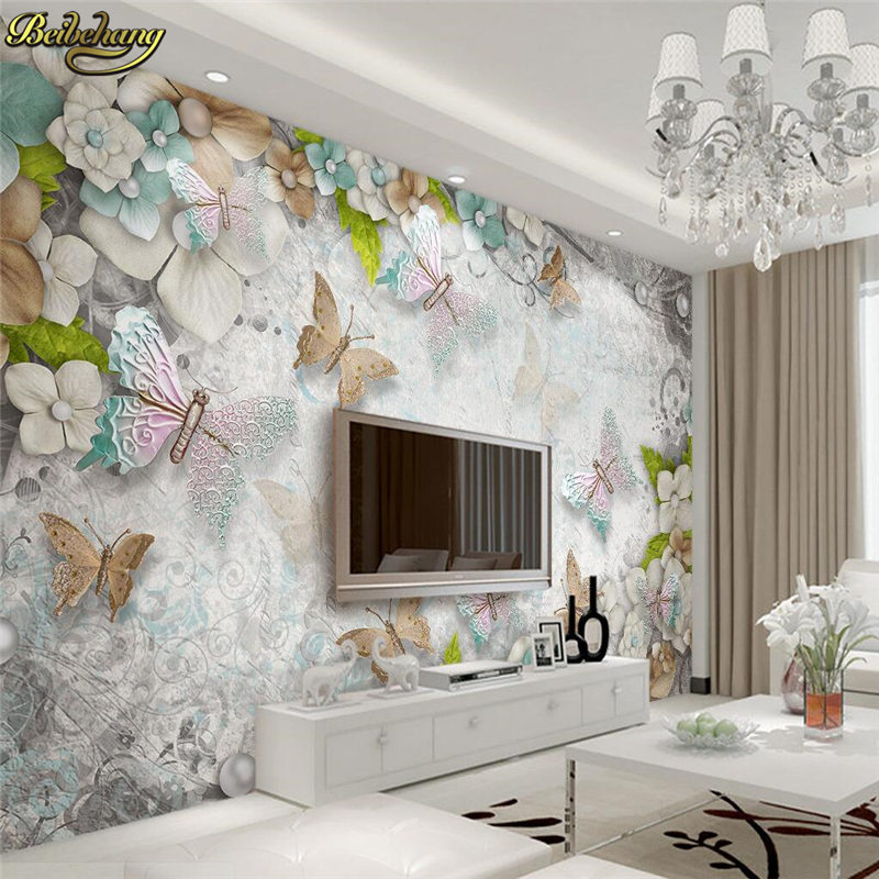 Beibehang Custom Butterfly Flowers Pearls 3D Photo Wall Paper Stereoscopic Backdrop 3D Flooring Mural Wallpaper Wall Paper