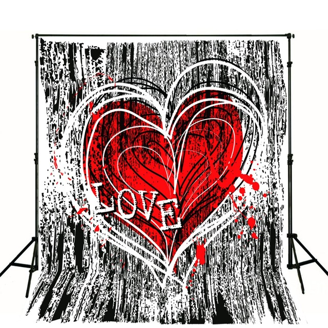 Tr Red Love Graffiti Wallpaper 5x7ft Photo Background Baby Children