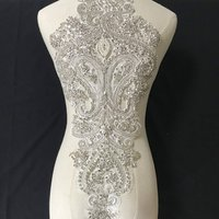 1 Piece Luxury Couture Bodice Rhinestone Beaded Applique, Sewing DIY Crystal Beaded Bridal Gown Wedding Applique