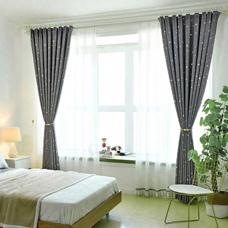 Cinza preto estrela impresso cortinas para crianças meninos quarto berçário francês janela cortinas p123c