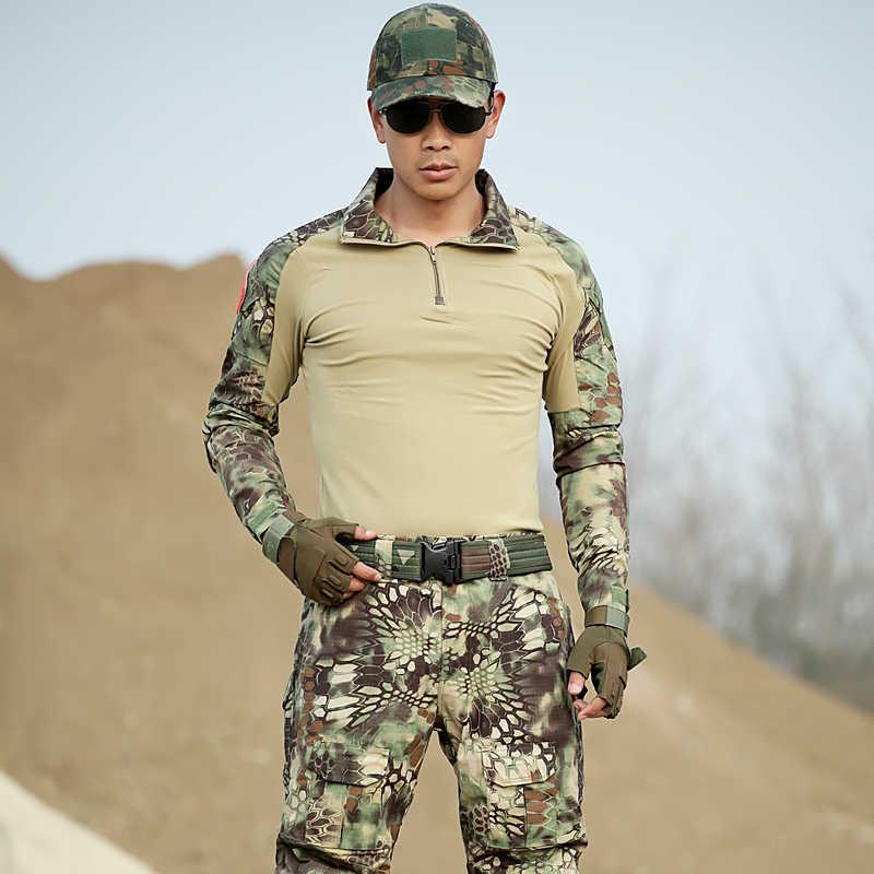 Mannen Hunter Kleding Jassen + broek Outdoor Jacht Outfit Camouflage Kostuum Multicam Voor Jacht Amerikaanse Leger Militaire Tactische Pak