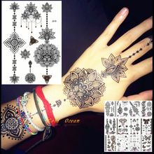 25 Styles Black Ink Henna Temporary Tattoo Sticker Fake Flower Pendants Arm Hand Tatoo Paste Waterproof Body Art Tattoo Stickers