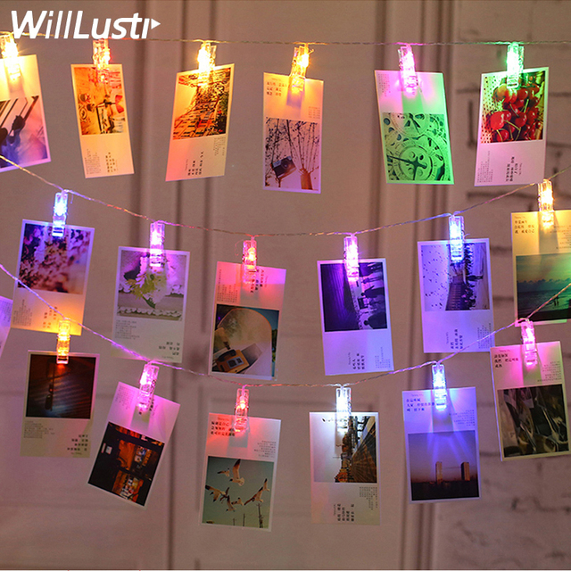 LED Card Photo Clip Led String Fairy Lights Garland New Year Christmas Decoration lamp Battery Decorative Light For Wedding